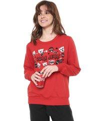 moletom fechado coca-cola jeans estampado vermelho - vermelho - feminino - algodã£o - dafiti