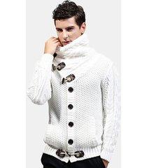 cardigan casual con fibbia in corno maglione addensato da uomo in lana calda
