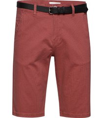 aop chino shorts w. belt shorts chinos shorts röd lindbergh