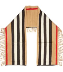 icon stripe fringe pocket cashmere wool blend scarf