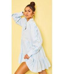 katoenen gesmokte jurk met franjemouwen en laagjes, lichtblauw
