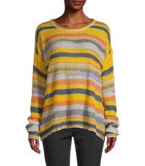 avantlook women's lightweight stripe sweater - yellow multicolor - size s