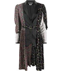 junya watanabe panelled belted coat - black
