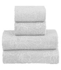 jogo toalha banho sultan realce top 4 peças branco