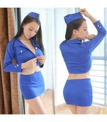 vestido de baile sexy uniforme de vuelo-azul