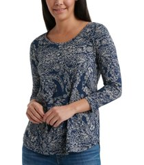 lucky brand scoop-neck 3/4 sleeve t-shirt