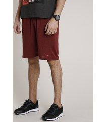 bermuda masculina esportiva ace com bolsos e cordão vermelha escuro