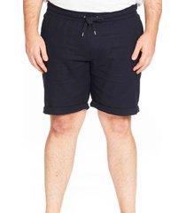 men's big & tall johnny bigg byron cotton & linen drawstring shorts, size 50 - blue