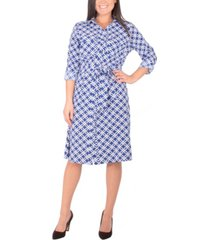 women's 3/4 sleeve roll tab shirtdress with belt