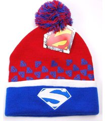 dc comics knit pom pom winter hat/beanie/toque  superman