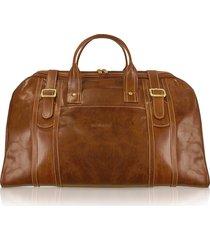 chiarugi designer men's bags, handmade brown genuine italian leather duffle travel bag