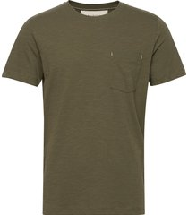 slhjared slub ss o-neck tee w t-shirts short-sleeved grön selected homme