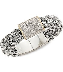 effy women's sterling silver & diamond belt bracelet