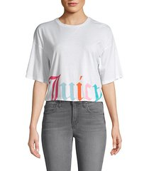 logo graphic cotton-blend cropped tee