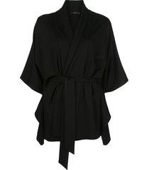 natori tie-waist loose cardigan - black