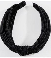 sandy crinkle satin headband - black