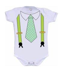 body divertido gravata e suspensório camiseteria s.a. branco