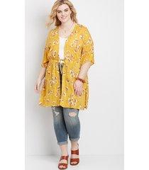 maurices plus size womens floral drawstring kimono