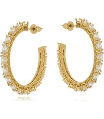 argola aberta le diamond zircônias dourada - tricae