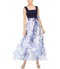 eliza j floral-print sash gown