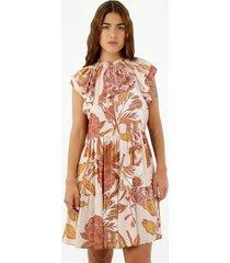 vestido de mujer, diseño corto con cuello alto manga sisa, con boleros y estampado floral