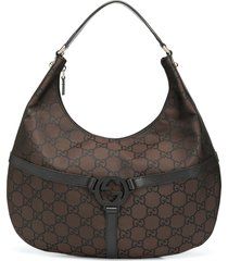 gucci pre-owned gg pattern hobo bag - brown