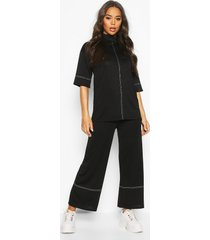 high waisted culottes with contrast stitching, black