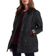 women's barbour beadnell waxed cotton jacket, size 8 us - green