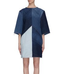 patchwork denim t-shirt dress