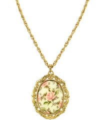 2028 gold tone ivory color floral decal pendant necklace 24""