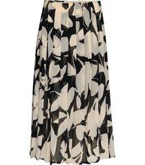 printed knife pleat knälång kjol svart calvin klein