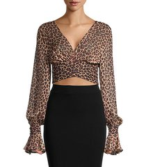 leopard cropped cover-up top