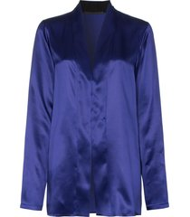haider ackermann shawl collar silk-satin blouse - blue