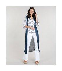 colete feminino longo em tricô azul marinho