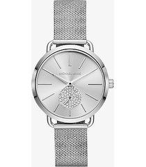 mk orologio portia tonalità argento in mesh - argento (argento) - michael kors