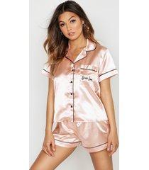 satijnen geborduurde bride squad pyjama set met shorts, roségoud