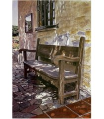 "david lloyd glover spanish bench, mission carmel canvas art - 15"" x 20"""