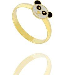 anel dona diva semi joias panda dourado - kanui