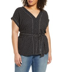 plus size women's 1.state scatter dot belted top