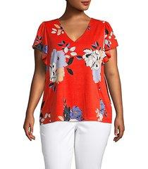 plus floral-print ruffled-sleeve top