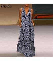 zanzea vestido sin mangas con cuello en v sin mangas para mujer vestido de playa kaftan para mujer -floral