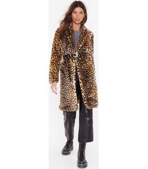 womens cold cold hearted leopard faux fur coat - beige