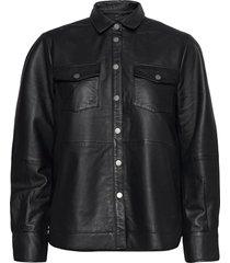 gitte leather shirt overhemd met lange mouwen zwart second female