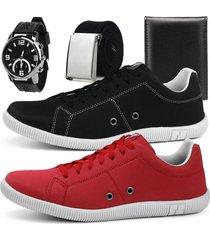 kit 2 pares de sapatãªnis rebento + brindes preto e vermelho - preto/vermelho - masculino - lona - dafiti