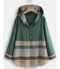 camicetta patchwork manica lunga stampa etnica a righe per donna