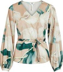 blus objfania l/s v-neck blouse