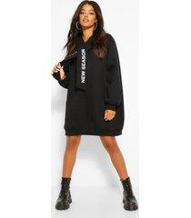hooded slogan tape sweatshirt dress, black
