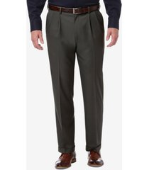 haggar men's premium comfort stretch classic-fit solid pleated dress pants