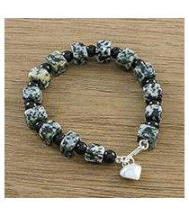 jasper and onyx beaded bracelet, 'dalmatian squares' (thailand)