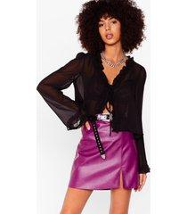 womens faux leather split leg mini skirt - berry